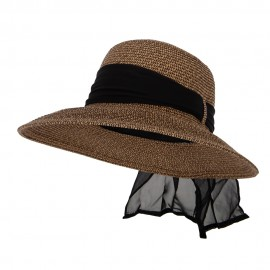 Women's Paper Braid Wide Brim Hat with Band Loop Detail and Scarf Trim