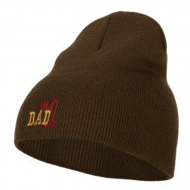 Number 1 Dad Outline Embroidered Big Stretch Short Beanie