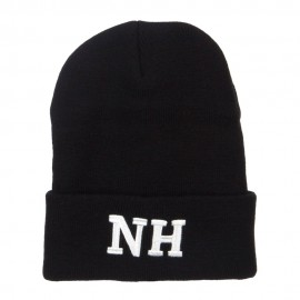 NH New Hampshire State Embroidered Long Beanie
