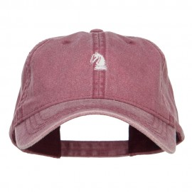 Mini Chess Knight Embroidered Washed Cap - Maroon