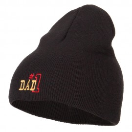 Number 1 Dad Outline Embroidered Big Stretch Short Beanie - Black