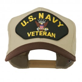 US Navy Veteran Military Patched Two Tone High Cap