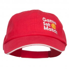 Tennis Game Set Match Embroidered Canvas Cap