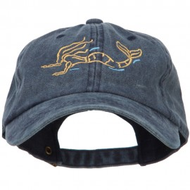 Mermaid Outline Embroidered Washed Cotton Cap