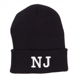 NJ New Jersey State Embroidered Cuff Beanie