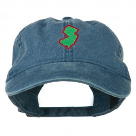 New Jersey State Map Embroidered Washed Cotton Cap - Navy