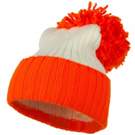 Neon Knit Hat with Pom Pom