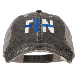 Finland FIN Flag Embroidered Low Profile Cotton Mesh Cap