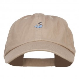Mini Whale Embroidered Low Cap - Khaki