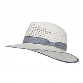 Denim Band Straw Panama Hat