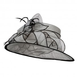 Flower Netting Detail Sinamay Hat