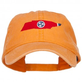 Tennessee State Flag Map Embroidered Washed Cap