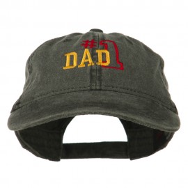 Number 1 Dad Outline Embroidered Washed Cotton Cap - Black