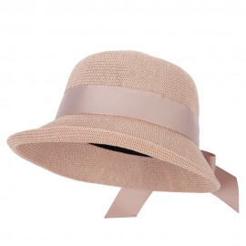 Women's Paper Woven Turn Up Front Brim Wide Ribbon Cloche Hat