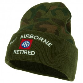 82nd Airborne Retired Logo Embroidered Camo Knit Long Cuff Beanie