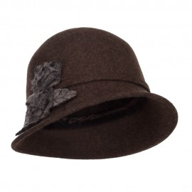 Women's Leaf Flower Accent Wool Cloche
