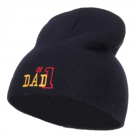 Number 1 Dad Outline Embroidered Short Beanie