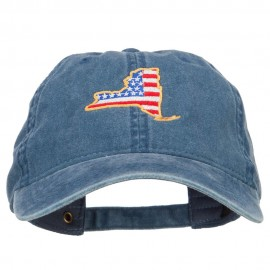 USA Flag New York Map Embroidered Washed Buckle Cap