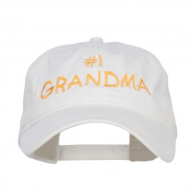 Number One Grandma Embroidered Washed Cap