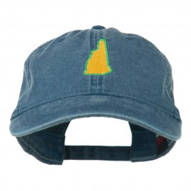 New Hampshire State Map Embroidered Washed Cotton Cap