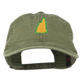 New Hampshire State Map Embroidered Washed Cotton Cap - Olive Green