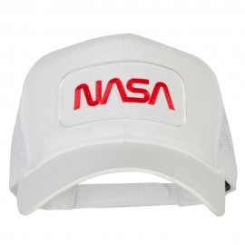 NASA Logo Embroidered Patched Mesh Back Cap - White