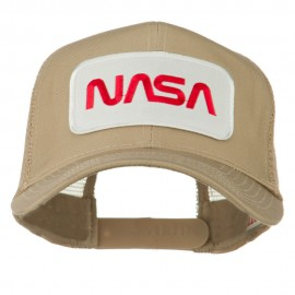 NASA Logo Embroidered Patched Mesh Back Cap - Khaki