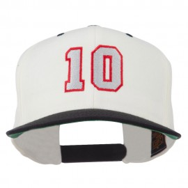 Number 10 Embroidered Classic Two Tone Snapback Cap