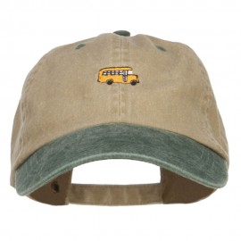 Mini Bus Embroidered Two Tone Washed Cap