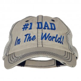 Number 1 Dad in The World Embroidered Low Profile Mesh Cap