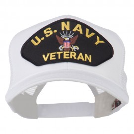US Navy Veteran Military Patch Mesh Back Cap - White