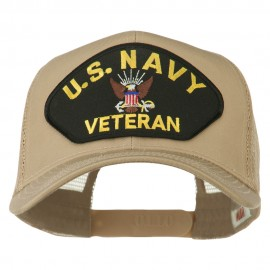US Navy Veteran Military Patch Mesh Back Cap - Khaki