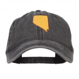 Nevada State Map Embroidered Washed Cap