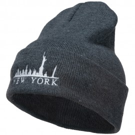 New York Skyline Embroidered Long Beanie