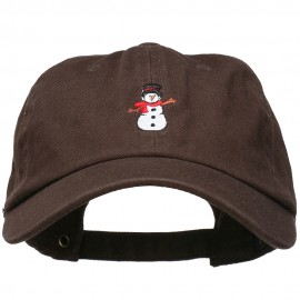 Snowman with Scarf Embroidered Unstructured Cap
