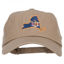 New York State Flag Map Embroidered Unstructured Washed Cap