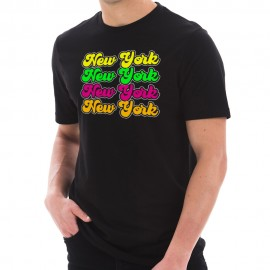 New York Colors Repeat Graphic Design Short Sleeve Jersey T-Shirt