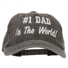 #1 Dad in the world! Embroidered Washed Buckle Cap