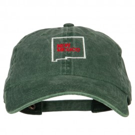 New Mexico with Map Outline Embroidered Washed Cotton Twill Cap