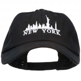 New York Skyline Embroidered Washed Cap