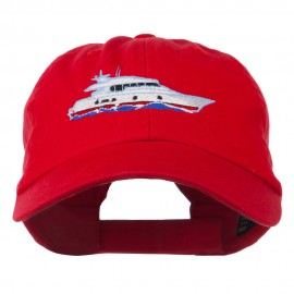 Nautical Yacht Embroidered Pet Spun Washed Cap - Red