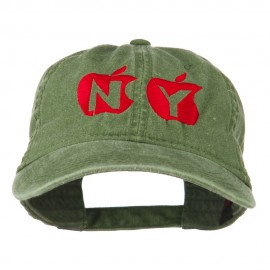 NY with Apple Image Embroidered Washed Cap - Olive Green