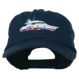 Nautical Yacht Embroidered Pet Spun Washed Cap - Navy