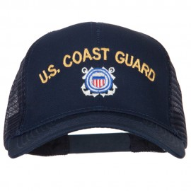 US Coast Guard Logo Embroidered Solid Cotton Mesh Pro Cap