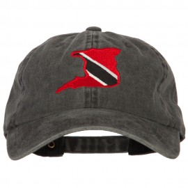 Trinidad Flag Map Embroidered Washed Cotton Twill Cap