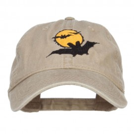 Moon Bats Halloween Embroidered Washed Cap