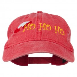Christmas Hat Ho Ho Ho Embroidered Washed Dyed Cap