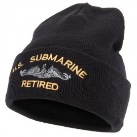 US Submarine Retired Military Embroidered Long Beanie