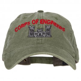US Army Corps of Engineers Embroidered Washed Buckled Cap - Olive