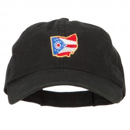 Ohio State Flag Map Embroidered Low Profile Cotton Cap